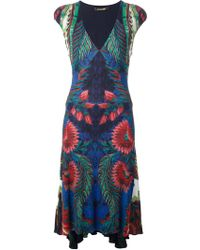 Roberto Cavalli Exotic Floral Print Dress - Lyst