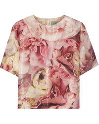 Preen Floral-print Wool Top - Lyst