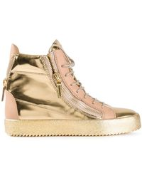Giuseppe Zanotti Metallic Hi-Top Sneakers - Lyst