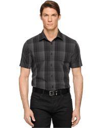 Calvin Klein Medium Plaid Multi-Check Shirt black - Lyst