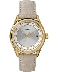 Timex® Ladies Gold Tone Round Watch With Embossed Leather Strap - Lyst