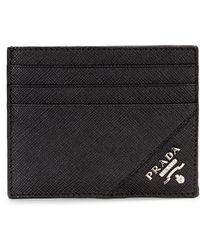 Prada   Black Logo Card Case   Lyst