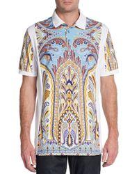 Etro Paisley Paneled Polo Shirt - Lyst