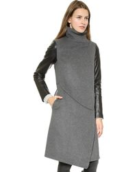 Tess Giberson Funnel Neck Coat with Leather Sleeves Greyblack - Lyst