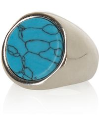 River Island - Silver Turquoise Stone Ring - Lyst