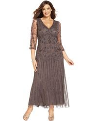 Pisarro Nights Plus Size Threequartersleeve Beaded Gown - Lyst