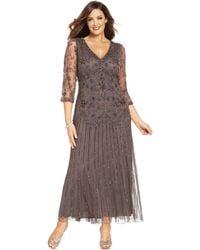 Pisarro Nights Plus Size Threequartersleeve Beaded Gown - Lyst