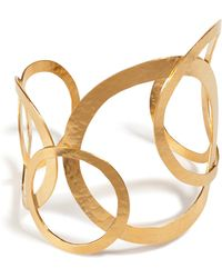 Herve Van Der Straeten Hammered Gold-Plated Hoops Bracelet gold - Lyst