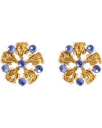 Brooks Brothers Crystal Stone Flower Button Earrings - Lyst