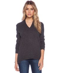 White + Warren Sharkbite V-Neck Sweater - Lyst
