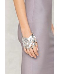 Nasty Gal | Web Of Lies Vegan Leather Hand Piece - Silver | Lyst