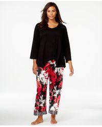 Oscar de la Renta - Plus Size Long Sleeve Top And Pyjama Trousers Set - Lyst