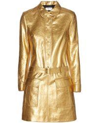 Saint Laurent Gold Metallicleather Dress - Lyst