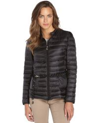 Moncler Black Quilted Zip Front Dalila Belted Down Jacket - Lyst