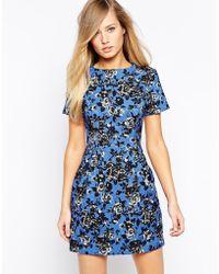 Oasis Mono Floral Jacquard Dress - Lyst