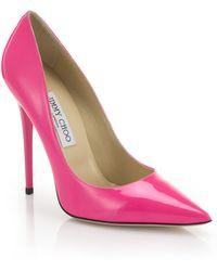 Jimmy Choo Anouk Patent Leather Pumps pink - Lyst