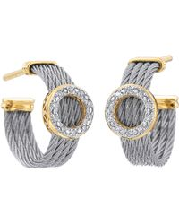 Charriol Diamond Circle-Station Cable-Hoop Earrings - Lyst