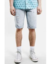Topman Bleach Destroyed Denim Shorts blue - Lyst
