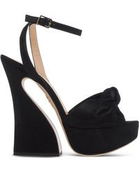 Charlotte Olympia   Geometric-Heeled Suede Sandals   Lyst