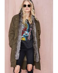 Nasty Gal Glamorous Isabelle Faux Fur Anorak - Lyst