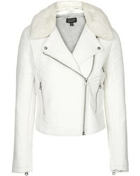 Topshop Ultimate Faux Leather Biker Jacket  White - Lyst