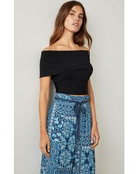 BCBGMAXAZRIA - Off-the-shoulder Ribbed Crop Top - Lyst