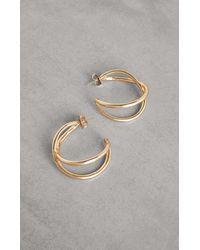 BCBGMAXAZRIA Bcbg Sculptural Twist Hoop Earring - Metallic