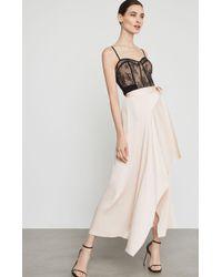 BCBGMAXAZRIA Bcbg Asymmetrical Satin Maxi Wrap Skirt