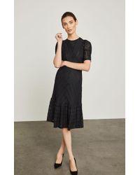 BCBGMAXAZRIA - Bcbg Lace-trimmed Striped Dress - Lyst