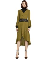 BCBGMAXAZRIA - Koko Asymmetrical Lace-trimmed Dress - Lyst