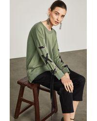 BCBGMAXAZRIA - Lace-up-sleeve Terry Sweatshirt - Lyst