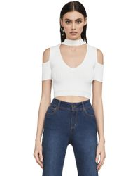 BCBGMAXAZRIA - Bcbg Petral Cold-shoulder Crop Top - Lyst