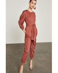 BCBGMAXAZRIA - Pleated Cotton Jumpsuit - Lyst