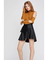 BCBGeneration - Tiered Faux-leather A-line Skirt - Lyst