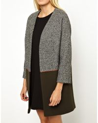 Helene Berman Slouchy Coat in Color Block - Lyst