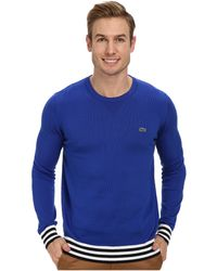 Lacoste Bridge Cotton Crew Neck Sweater W Stripe Detail - Lyst