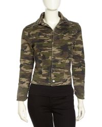 Fade To Blue Cropped Studded-Cuff Camo Jacket - Lyst