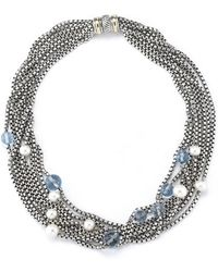 David Yurman Pre-owned 8 Strand Necklace with Pearls and Blue Topaz - Lyst