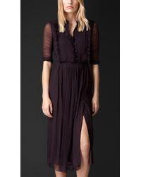 Burberry Silk Crépon Ruffle Detail Dress - Lyst
