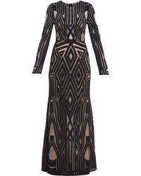 BCBGMAXAZRIA Veira Long sleeve Engineered Lace Gown - Lyst