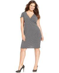 Jones New York Signature Plus Size Cap Sleeve Polka Dot Faux Wrap Dress - Lyst