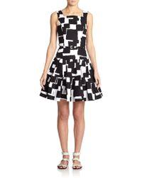 Oscar de la Renta Stretch-Cotton Printed Belted Dress - Lyst