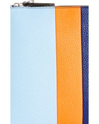 Etienne Aigner | M'o Exclusive Medium Eva Stripe Pouch In Light Grey, Orange, And Navy With Grey Pom Pom | Lyst