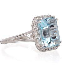 Kojis - White Gold Aquamarine Diamond Ring - Lyst