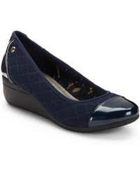 Ak Anne Klein Quilted Cap Toe Wedges blue - Lyst