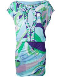 Emilio Pucci Printed Silk-Blend Dress - Lyst