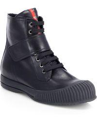 Prada Leather Laceup Hightop Sneakers - Lyst