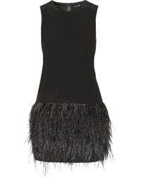 Tibi Cera Tuxedo Feather-Trimmed Crepe De Chine Mini Dress - Lyst