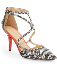 L.A.M.B. Snake-Embossed Leather & Patent Leather Ankle-Strap Pumps - Lyst