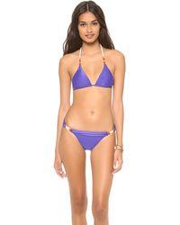 Vix Solid Blue Triangle Bikini Top - Lyst